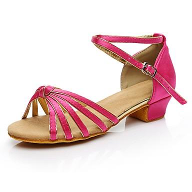 baratos Super Ofertas-Mulheres Sapatos de Dança Seda Sapatos de Dança Latina Salto Salto Baixo Personalizável Fúcsia / Interior / Ensaio / Prática