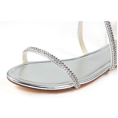 Eté Evénement Bout Cristal Femme Talon mariage ouvert Plat amp; de Chaussures Confort Soirée Chaussures Similicuir Argent 06438332 EzzwqTZ