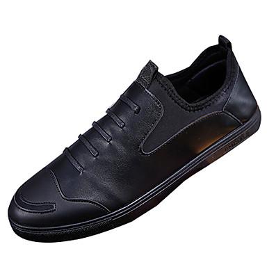 בגדי ריקוד גברים PU אביב / סתיו נוחות נעליים ללא שרוכים שחור / אדום