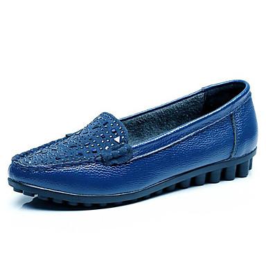 בגדי ריקוד נשים נעליים עור אביב / סתיו נוחות נעליים ללא שרוכים שטוח שחור / כחול