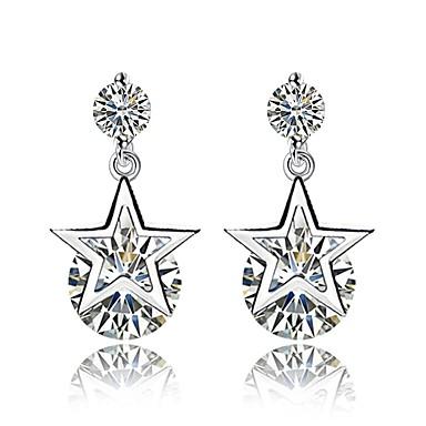 billige Moteøreringer-Dame Diamant Kubisk Zirkonium Dråpeøreringer damer Grunnleggende Mote øredobber Smykker Sølv Til Daglig Seremoni