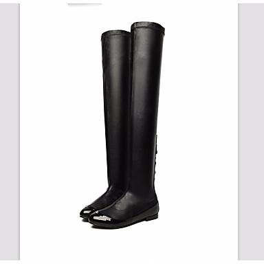 בגדי ריקוד נשים נעליים PU סתיו / חורף נוחות / מגפיים אופנתיים מגפיים עקב טריז מגפיים באורך מעל הברך שחור