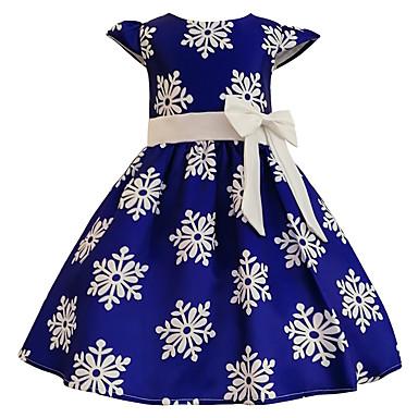 お買い得  女児 ドレス-子供 女の子 カジュアル 日常 お出かけ プリント 半袖 コットン ドレス ブルー / キュート