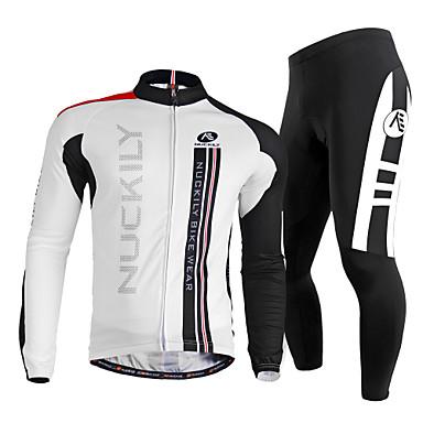 Nuckily Herrn Langarm Fahrradtrikots mit Fahrradhosen - Weiß Fahhrad Kleidungs-Sets, Rasche Trocknung, UV-resistant, Atmungsaktiv,