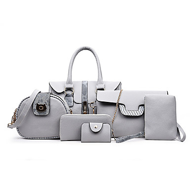 c3b6a01345 Women s Bags PU(Polyurethane) Bag Set 6 Pieces Purse Set Zipper Red   Brown    Light Grey