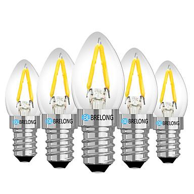 cheap LED Globe Bulbs-BRELONG 5 pc E14 2W Dimmable LED Filament Light Bulb AC110V /AC 220V Warm White