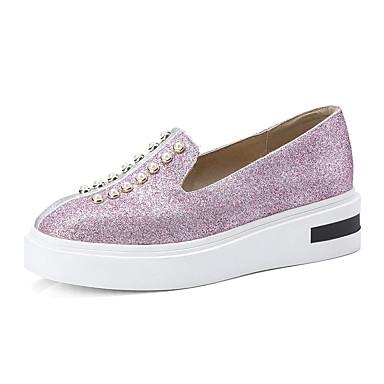 בגדי ריקוד נשים דמוי עור אביב / קיץ נוחות נעליים ללא שרוכים שטוח דמוי פנינה שחור / ורוד