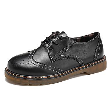 בגדי ריקוד נשים PU אביב / סתיו נוחות נעלי אוקספורד שטוח שחור / חום