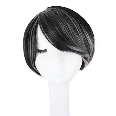 פאות סינתטיות ישר פיקסי קאט / תספורת שכבות / עם פוני שיער סינטטי שיער מובהר / שיער טבעי / חלק צד שחור / אפור פאה ללא מכסה / פאה אפרו-אמריקאית