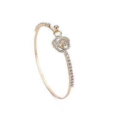 baratos Bangle-Mulheres Bracelete Flor Clássico Fashion Imitações de Diamante Pulseira de jóias Dourado / Prata Para Diário