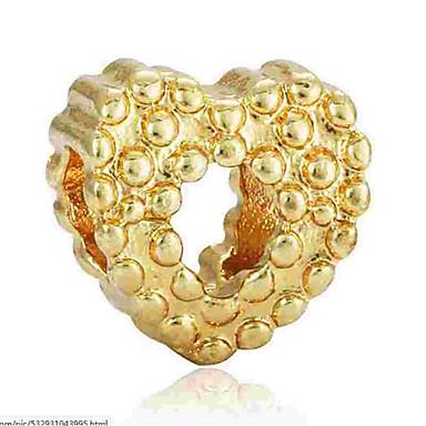 תכשיטים DIY 1 יח חרוזים סגסוגת זהב כסף לב חָרוּז 0.2 cm עשה זאת בעצמך שרשראות צמידים