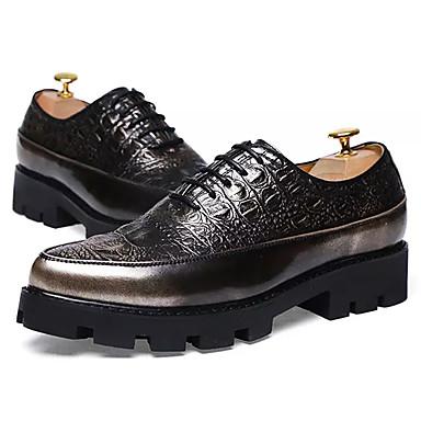 נעליים PU אביב סתיו נוחות נעלי אוקספורד ל קזו'אל זהב שחור חום