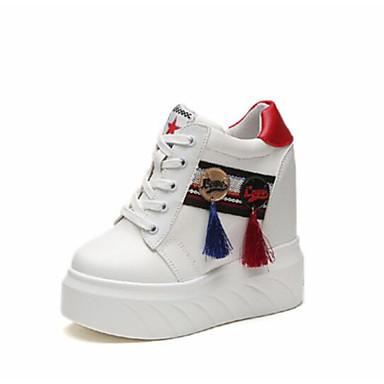 Mulheres sapatos couro ecológico outono conforto tênis salto alto dedo  fechado para ao ar livre branco 51498c207b7c3