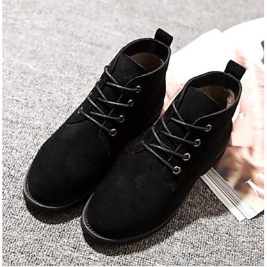 בגדי ריקוד נשים נעליים עור סתיו / חורף נוחות מגפיים עקב עבה בוהן סגורה מגפונים\מגף קרסול שחור / Wine / חאקי