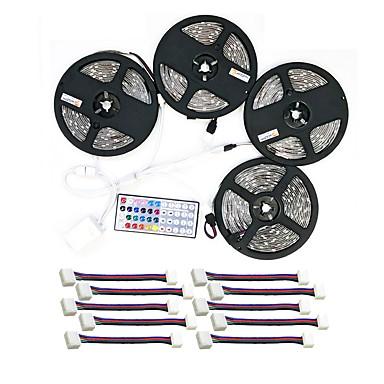 billige LED Strip Lamper-zdm vanntett 20m 4x5m 5050 10mm rgb led strip light 30ledsmeters 44key ir controller og 1x1 til 4 kabelforbindelse med 10stk tilkoblingslinje dc12v