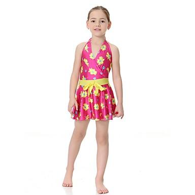 billige Badetøj til piger-Børn Pige Afslappet Aktiv Sport Strand Blomstret Uden ærmer Nylon Lycra Badetøj Lilla