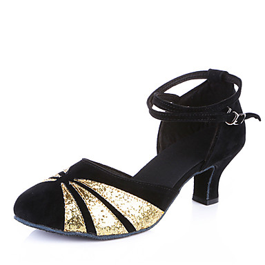 Women's Latin Shoes Velvet Sandal / Heel / Sneaker Sequin / Appliques / Sparkling Glitter Cuban Heel Non Customizable Dance Shoes Black and Sliver / Black and Gold / Red / Indoor