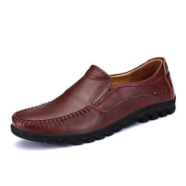 בגדי ריקוד גברים עור אביב / סתיו נוחות נעליים ללא שרוכים שחור / חום בהיר / בורדו