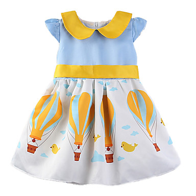 1525095b529 Toddler Girls' Casual Daily Going out Color Block Rainbow Print Short  Sleeve Cotton Polyester Dress Blue / Cute / Princess