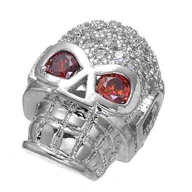 תכשיטים DIY 1 יח חרוזים יהלום מדומה סגסוגת כסף גולגולת חָרוּז 0.5 cm עשה זאת בעצמך שרשראות צמידים