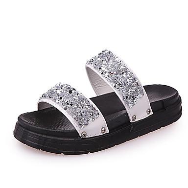 Mujer Zapatos PU Verano Confort Zapatillas y flip-flops Media plataforma Dedo redondo Pedrería Blanco / Negro FiCDAmO5M