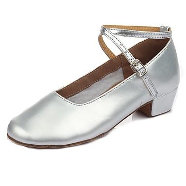 נעלי ריקוד לילדים עור פטנט עקבים עקב נמוך מותאם אישית נעלי ריקוד כסף