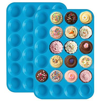 מיני muffin עוגה עובש 24 עוגות סיליקון cupcake פנקייק עובש לא מקל מגש כלי bakeware מגוון צבע