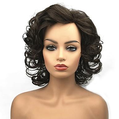 פאות סינתטיות מתולתל שיער סינטטי פאה אפרו-אמריקאית חום פאה בגדי ריקוד נשים בינוני ללא מכסה חום בינוני