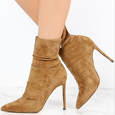 Mujer Zapatos Cuero Nobuck Otoño / Invierno Confort / Botas hasta el Tobillo Botas Tacón Stiletto Botines / Hasta el Tobillo Negro / Caqui XUndd
