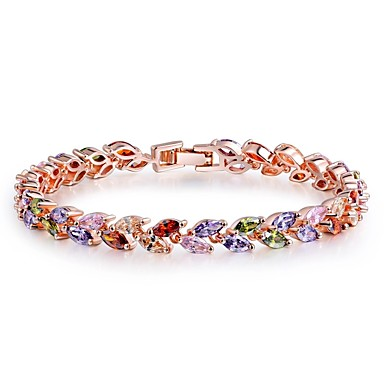 voordelige Armband-Dames Synthetische Ruby Armband Bladvorm Dames Klassiek Bohémien Zoet Boho Zirkonia Armband sieraden Regenboog Voor Kerstmis Nieuwjaar