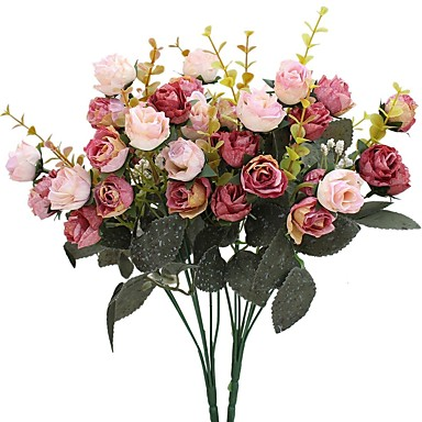 halpa Tekokukat-Keinotekoinen Flowers 2 haara Pastoraali Tyyli Ruusut Pöytäkukka