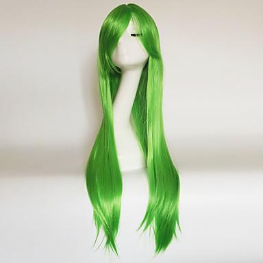 פאות סינתטיות ישר / Kinky Straight תספורת אסימטרית / עם פוני שיער סינטטי שיער טבעי ירוק / חום פאה בגדי ריקוד נשים ארוך ללא מכסה הבינוני אובורן ירוק צהוב