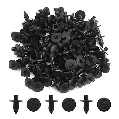 100pcs שחור 7mm רכב פגוש לדחוף בסגנון סיכות קליפים פלסטיק מסמרות פלסטיק לקצץ