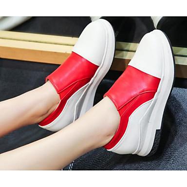 בגדי ריקוד נשים נעליים PU אביב / סתיו נוחות נעליים ללא שרוכים מטפסים שחור / אדום