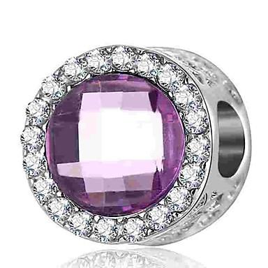 תכשיטים DIY 1 יח חרוזים קריסטל יהלום מדומה סגסוגת סגול כחול ים עגול חָרוּז 0.2 cm עשה זאת בעצמך שרשראות צמידים