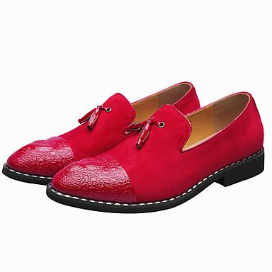 נעליים פורמליות PU אביב / קיץ יום יומי / נוחות נעליים ללא שרוכים שחור / אדום / חתונה / מסיבה וערב