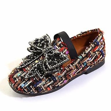 בנות נעליים בד אביב נוחות נעליים ללא שרוכים ל שחור / בז'