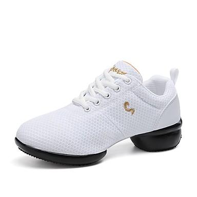 יוניסקס סניקרס לריקוד טול נעלי ספורט שחבור מדרס מחולק מותאם אישית נעלי ריקוד לבן