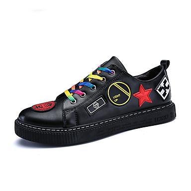 בגדי ריקוד גברים נעלי נוחות דמוי עור אביב / קיץ נעלי ספורט לבן / שחור