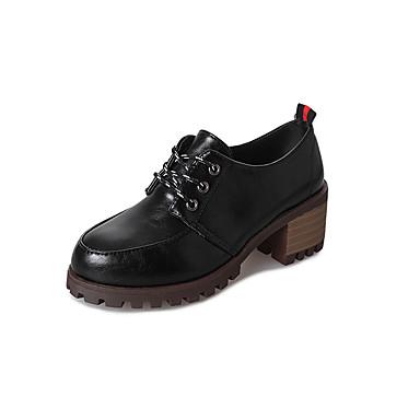 בגדי ריקוד נשים PU אביב נוחות / מגפיים אופנתיים נעלי אוקספורד עקב עבה בוהן עגולה שחור / כתום / בז'