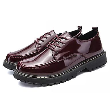 בגדי ריקוד גברים PU אביב / סתיו נוחות נעלי אוקספורד שחור / בורדו