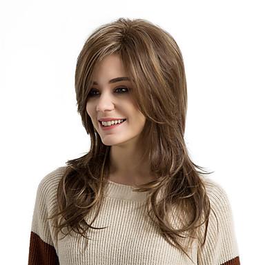 Synteettiset peruukit Luonnolliset aaltoilevat Tyyli Otsatukalla Suojuksettomat Peruukki Ruskea Medium Brown / Strawberry Blonde Synteettiset hiukset Naisten Raidoitetut hiukset / Sivuosa Ruskea