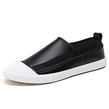 בגדי ריקוד גברים נעלי נוחות PU אביב / סתיו נעליים ללא שרוכים לבן / שחור