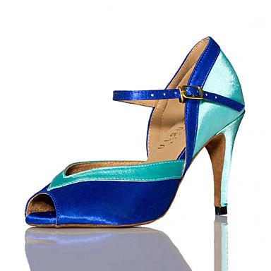 בגדי ריקוד נשים נעליים לטיניות / סניקרס לריקוד דמוי עור סנדלים / נעלי ספורט קצוות עקב סטילטו מותאם אישית נעלי ריקוד כחול / עירום / בבית / אימון