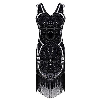 שנות ה-20 / גטסבי תחפושות בגדי ריקוד נשים השמלה שחור וינטאג Cosplay פוליאתילן שרוולים קצרים כובע / פאייטים / פרנזים
