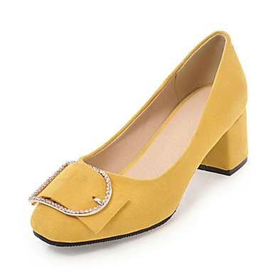 5506d53688 Women's Shoes Leatherette Spring / Fall Comfort Heels Chunky Heel Round Toe  Rhinestone Beige / Yellow / Pink / Party & Evening / Dress