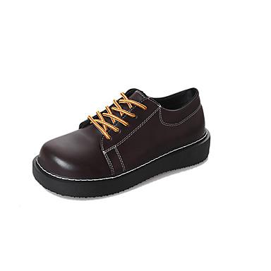 בגדי ריקוד נשים נעליים PU אביב / קיץ נוחות נעלי אוקספורד שטוח בוהן עגולה שחור / חום כהה