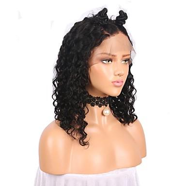 שיער אנושי ללא דבק, תחרה מלאה / תחרה מלאה Wig שיער ברזיאלי מתולתל פאה תספורת בוב / עם שיער תינוקות 130% צְפִיפוּת שיער טבעי קצר פיאות תחרה משיער אנושי / מסולסל