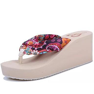 בגדי ריקוד נשים נעליים משי אביב / קיץ נוחות / גלדיאטור כפכפים & כפכפים עקב טריז פוקסיה / קפה