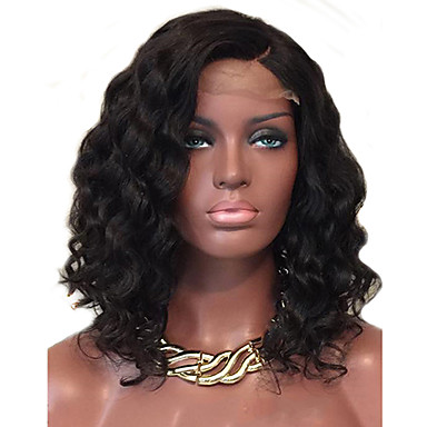 שיער אנושי חלק קדמי תחרה ללא דבק / חזית תחרה פאה שיער ברזיאלי מתולתל / Water Wave פאה 130% שיער טבעי / חלק צד / פאה אפרו-אמריקאית בגדי ריקוד נשים ארוך פיאות תחרה משיער אנושי / גל מים / מסולסל